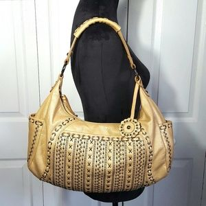 Isabella Fiore Leather Metallic Gold Studded Hobo